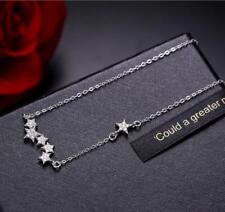 925 Sterling Silver Micro-inlay 1 Ct Cubic Zirconia 5+1 Stars Pendant Necklace