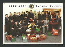 Boston Bruins 2002-2003 Team Christmas Hockey Card