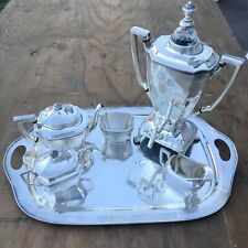 Ancestral Rogers Bros Silver Plated Serving Set Coffee Tea Teapot Dispenser 1847