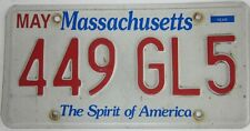 MASSACHUSETTS licence/number plate US/United States/USA/American 449GL5