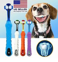 Dog Toothbrush Soft Pet Cat Toothbrush withThree Sided Dogs Rubber Tooth Brush