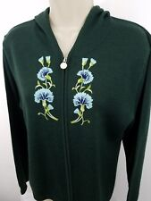women's zip up hooded sweater green by Lilys of Beverly Hills size large 1266