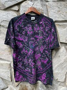 Vintage Liquid Blue All Over Print Glow In The Dark Stars Zodiac Shirt Black XL