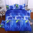 Blue Rose 3D Duvet Cover Pillow Case Quilt Cover Bedding Set Single Queen King