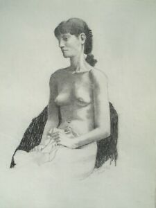 """Sitting Female Nude-Mary 21 1/4""""  x 17 1/4"""" Charcoal Drawing-1991-August Mosca"""