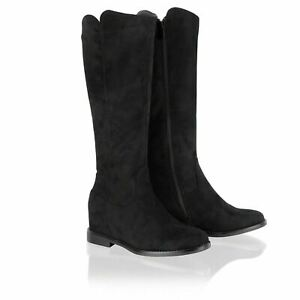 New Womens Wedge Heel Knee High Boots Hidden Concealed Mid Calf Black Shoes Size