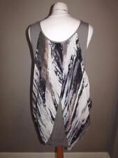 WALLIS Ladies Grey Black Pattern Floaty Asymmetric Drape Top Short Dress Size M
