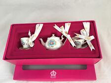 Royal Albert Christmas Set/3 Polka Blue Teapot Cups & Saucers Retail $58 NIB