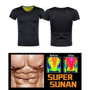Men Waist Corset Trainer T-Shirt Sweat Shaper Sauna Weight Loss Fitness Tops^
