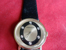 VINTAGE AMAZING JAEGER-LE COULTRE 14K GOLD CASE DIAMOND DIAL DRESS WATCH 818/2