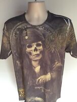 Minute Mirth Pirate Skeleton T Shirt L Large Graphic Tee 100% Cotton Gray
