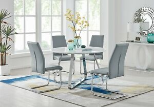 SANTORINI White Wood Round Dining Table Set & 4/6 Faux Leather Dining Chairs