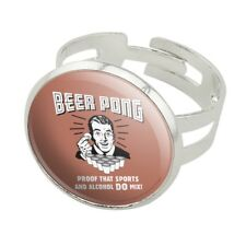 Beer Pong Proof That Sports Alcohol Mix Silver Plated Adjustable Novelty Ring