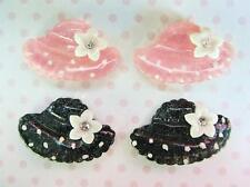 20 Pink & Black Rhinestone Flower Lady Hat Flatback Button/bow/Bead/Craft B104