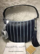 NWT Michael Kors$328 Brooklyn Applique Strap Medium Convert Hobo Bag-WashedDenim