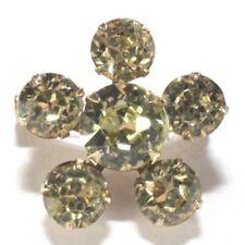 - Yellow Crystal Rhinestones - Gold Tone Brooch Pin - Small Flower - Five Petals