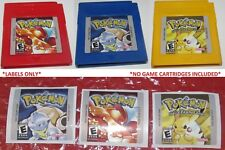 Replacement Labels Pokemon Red Blue & Yellow Version Nintendo GameBoy Stickers