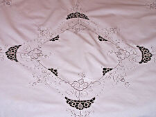 "PRETTY VINTAGE NEEDLE LACE & ROSE DESIGN EMBROIDERED TABLECLOTH 42"", 4 NAPKINS"