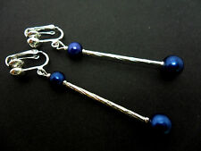 A PAIR OF SILVER COLOUR  BLUE BEAD LONG DANGLY  CLIP ON EARRINGS. NEW.