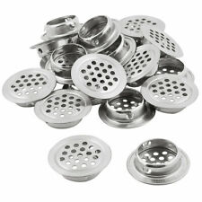 25mm Bottom Dia Round Flat Panel Air Vent Louver Cover Silver Tone 20pcs