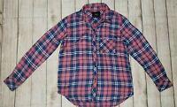 Rails Flannel Shirt Womens Blue Pink Plaid Long Sleeve Button Front XS
