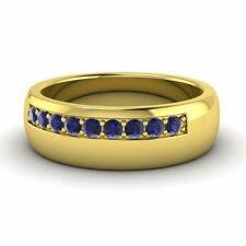 14k Yellow Gold .42 Ct Natural Blue Sapphire Men's Engagement / Wedding Band