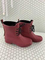 Chooka Eastlake Red Rubber Lace Up Waterproof Duck Rain Boots Women's Size 7