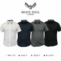 Brave Soul Mens Plain Shirt Short Sleeve Slim Fit Casual 'Mombassa'