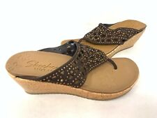 NEW! Skechers Women's BEVERLEE DAZZLED Wedge Sandals Chocolate #38537 186M tz