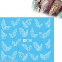 Nail Art Water Decals Stickers Wraps Black White Lace Flowers Tips Gel Polish