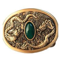 Pure Brass Shiny Vintage Antique Belt Buckle Dragon Jade Western Cowboy boucle