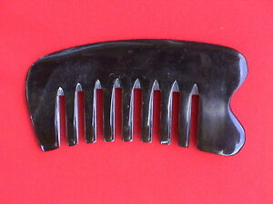 "4.30"" BLACK WIDE BLUNT TOOTHED MASSAGE OX HORN HAIR COMB - COMBINE SHIPPING!"