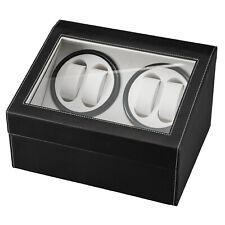 Leather Watch Winder Storage Auto Display Case Box 4 6 Automatic Rotation Black