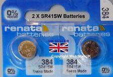 SR41W Watch Battery x 2  Renata 384 1.55v  Mercury Free Swiss Made