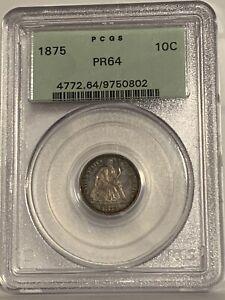 1875 Seated Liberty Dime PCGS PF64