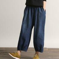 Autumn Women Blue Casual Pants Denim Jeans Elastic Waist Wide Leg Pants Trousers