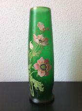 Très grand vase en verre soufflé coloré vert à décor floral de Legras Montjoye