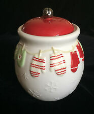 Hallmark Christmas Cookie Candy Jar Mittens on Clothesline Embossed Snowflakes