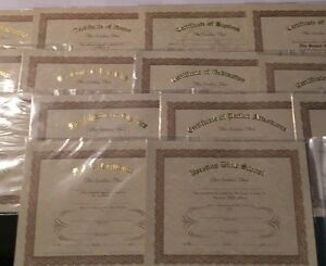 """Tan Parchment Certificates - 8"""" x 10"""" in Packs of 12 - Choose from 19 Styles"""