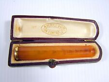 Antique French Original Butterscotch Amber 18K Gold Cigarette Holder Mark w Box