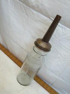 Antique Standard Oil Company Service Jar Bottle Spout Gas Station Quart Indiana