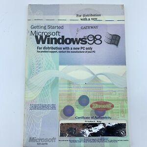 Microsoft Windows 98 Manual with Key No Disc for Gateway PC