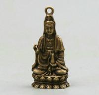 """1.6"""" Curio Chinese Bronze Sit Lotus Kwan-yin Boddhisattva Small Guan Yin Pendant"""