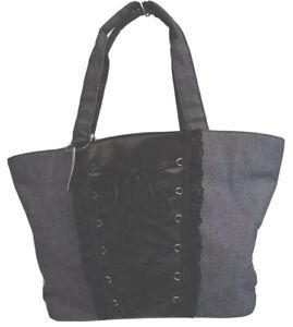 Victorias Secret Bucket Bag Purse Blue Jean Corset Lace Up Pink Lining NEW W/Tag