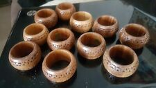 11 carved design Wooden Napkin Rings Holders Country Dining Farmhouse Table