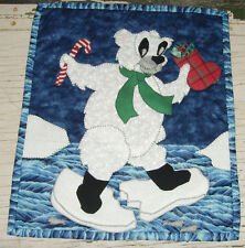 Christmas Polar Bear with candy cane on blue stocking quilt block piece holiday