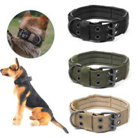 Tactical Military Adjustable Dog Training Collar Nylon Leash Metal Buckle L