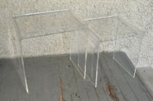 Vintage Clear Lucite Nesting Side Tables Mid Century Modern Waterfall. Space Age