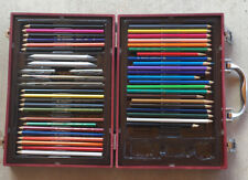 Vintage Loew- Cornell wooden Case with 41 pencils and other art supplies.