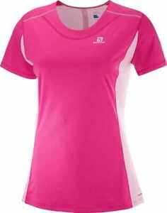 SALOMON AGILE HEATHER TEE, Women's Short Sleeve Pink Yarrow Sports T-Shirt